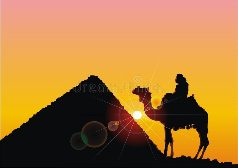 Silhouette of the pyramid and bedouin on camel. On sundown vector illustration