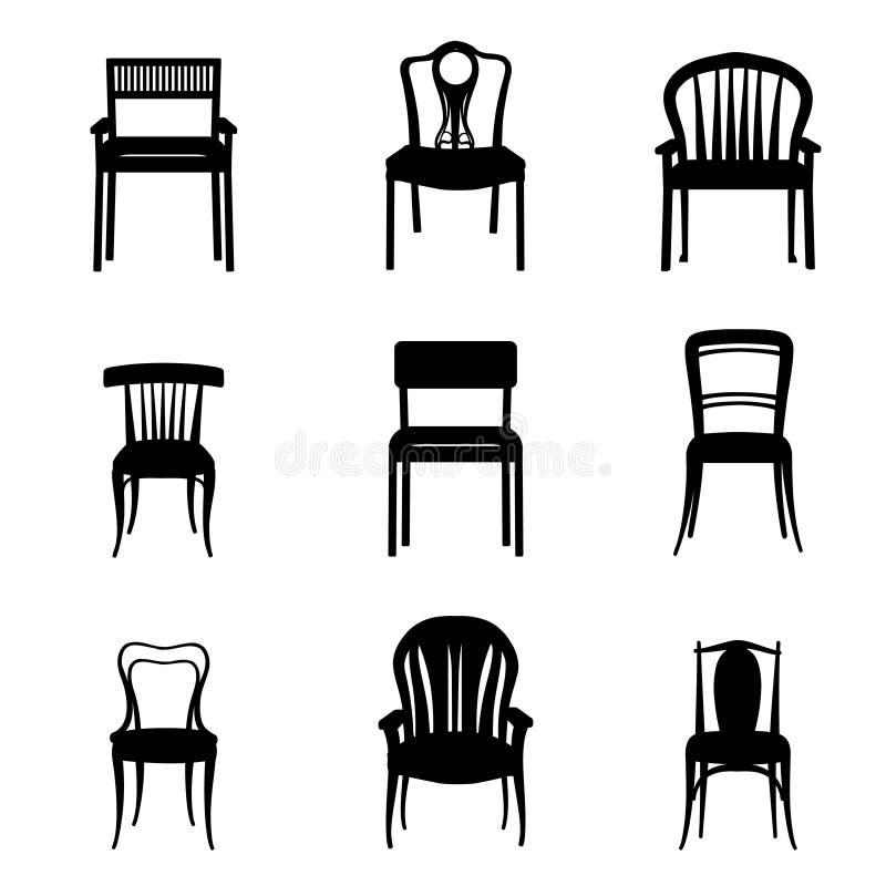 Silhouette réglée de fauteuil et de chaise dans de rétros meubles de rétro style illustration de vecteur