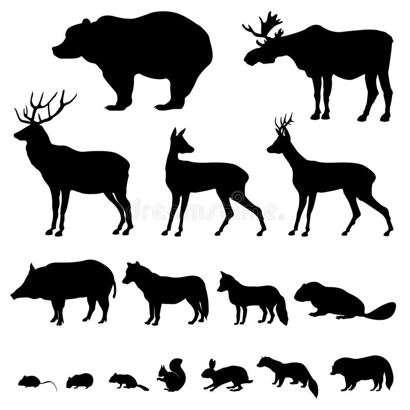 silhouette réglée par animaux illustration de vecteur