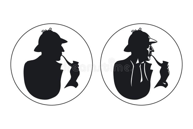 Silhouette révélatrice de fumeur de tuyau Sherlock Holmes illustration de vecteur