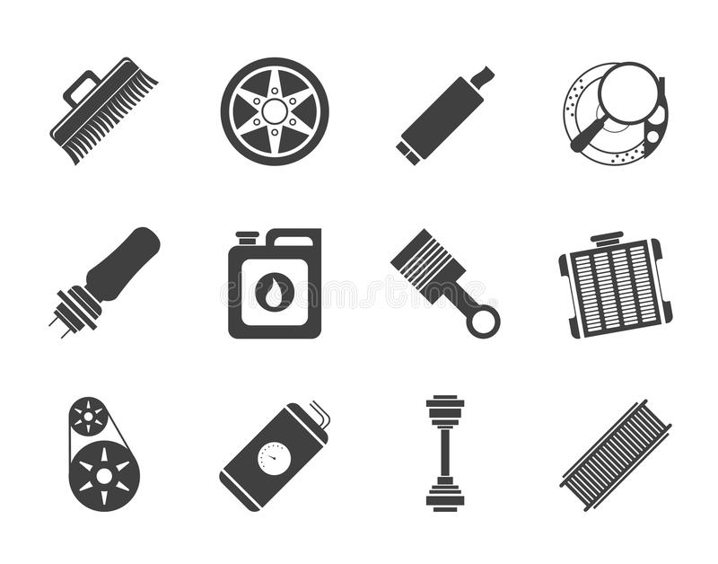 Silhouette Realistic Car Parts and Services icons stock illustration