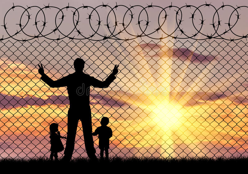 Silhouette refugees father and two children. Concept of the refugees. Silhouette refugees father and two hungry children on the background of the fence stock photos