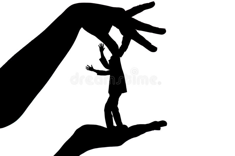 Silhouette female holding male by fingers behind the scruff as a puppet on white isolated background vector illustration