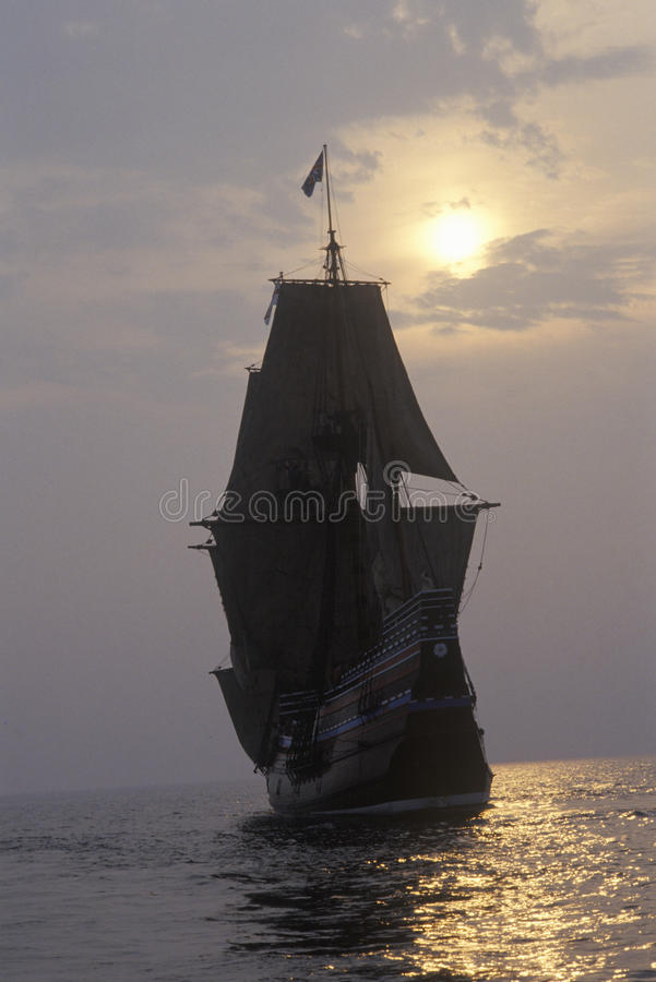 Silhouette of a replica of Mayflower II, Plymouth, Massachusetts royalty free stock image