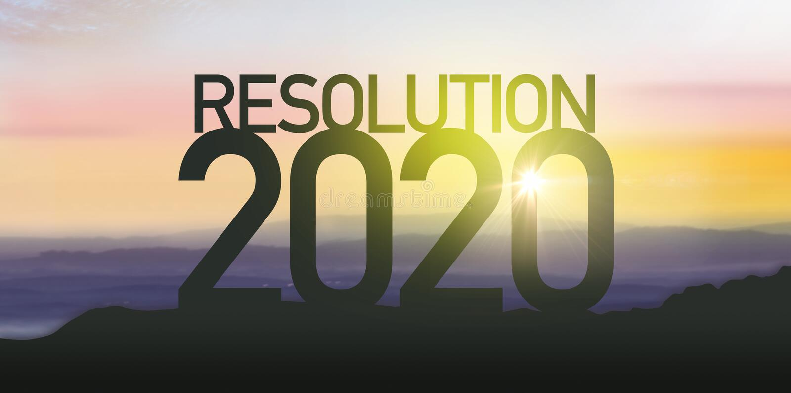 Silhouette for resolution 2020 stock image