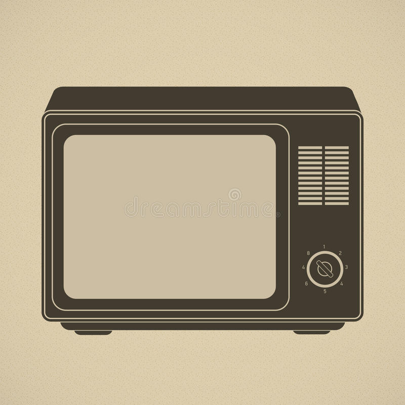 Silhouette of retro tv set. This vector image is fully editable vector illustration