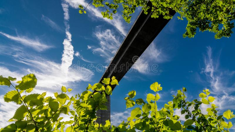 Silhouette of road bridge against blue sky. View from frog perspective framed by green foliage in sunlight stock image