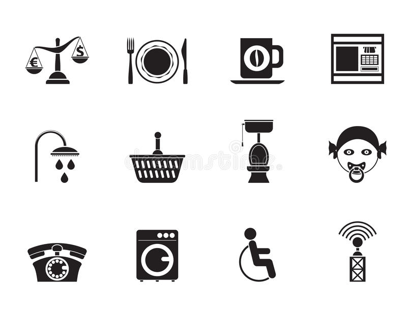 Silhouette Roadside, hotel and motel services icons royalty free illustration