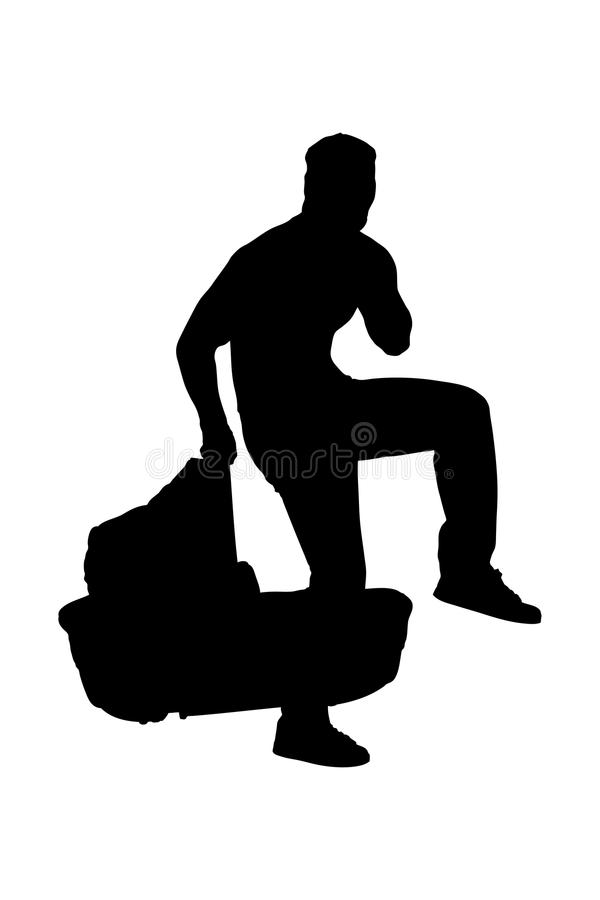 A silhouette of a robber holding a carrycot. Isolated on white background royalty free illustration