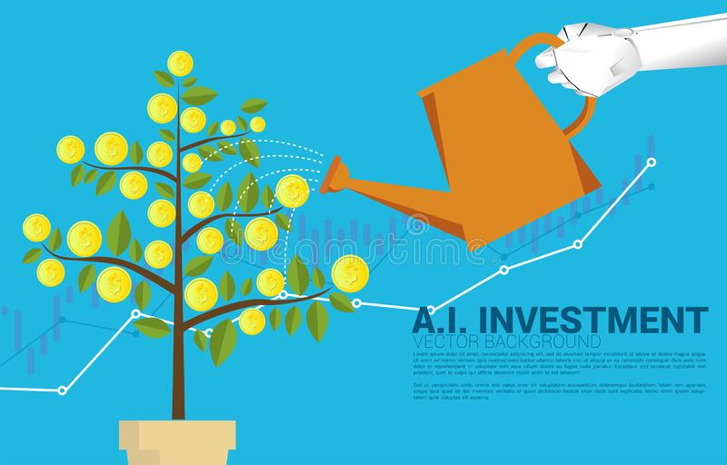 Silhouette robot hand watering money tree with graph. vector illustration