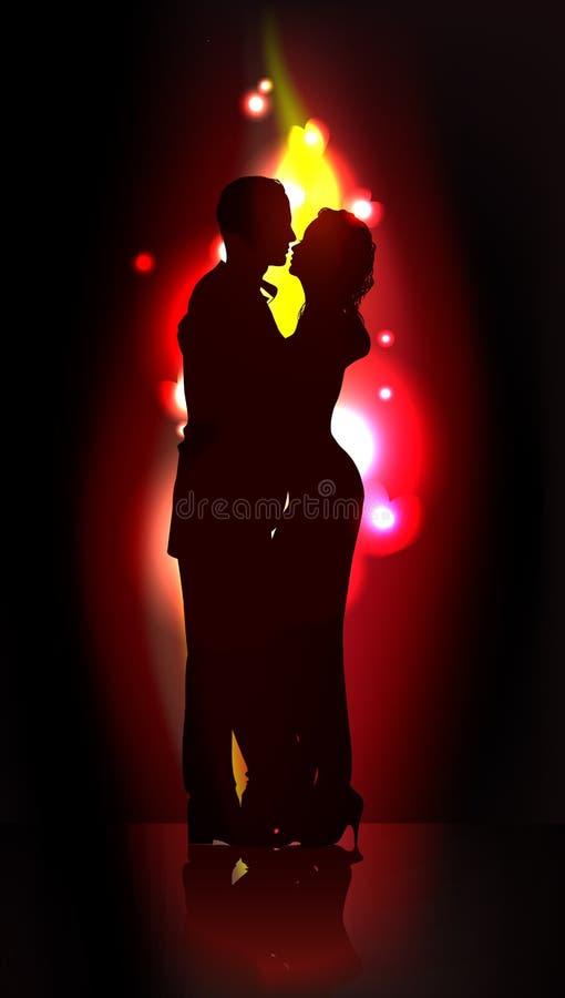 Silhouette of romantic couple stock illustration