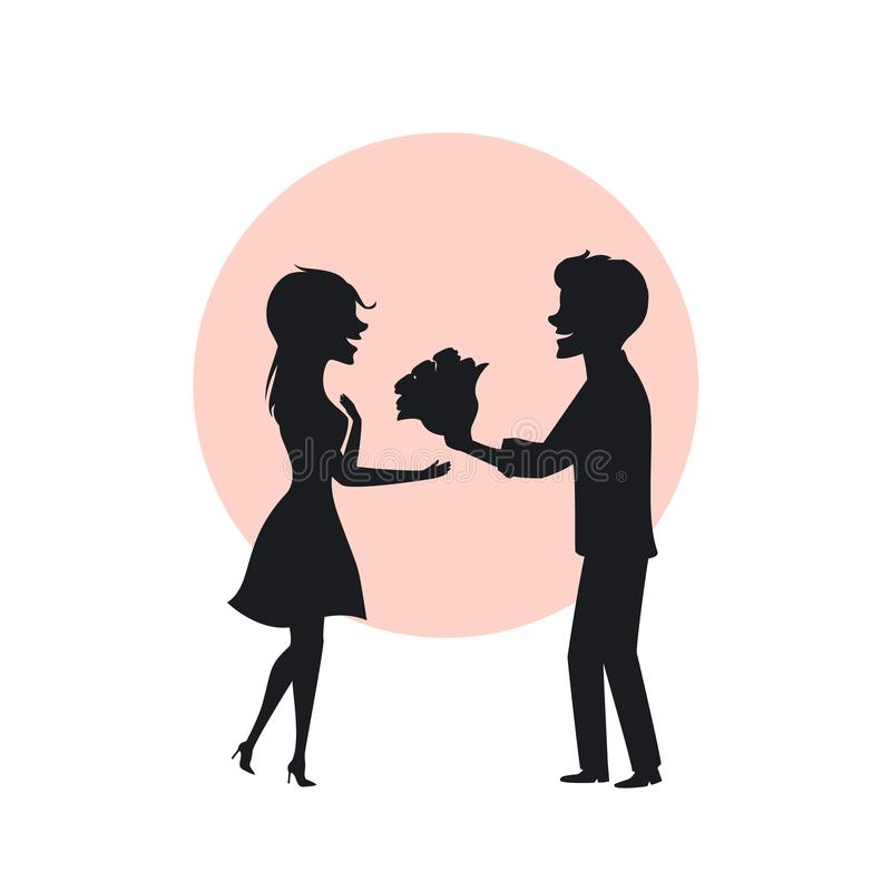 Silhouette of romantic couple in love on a first date, man surprises woman with flowers royalty free illustration