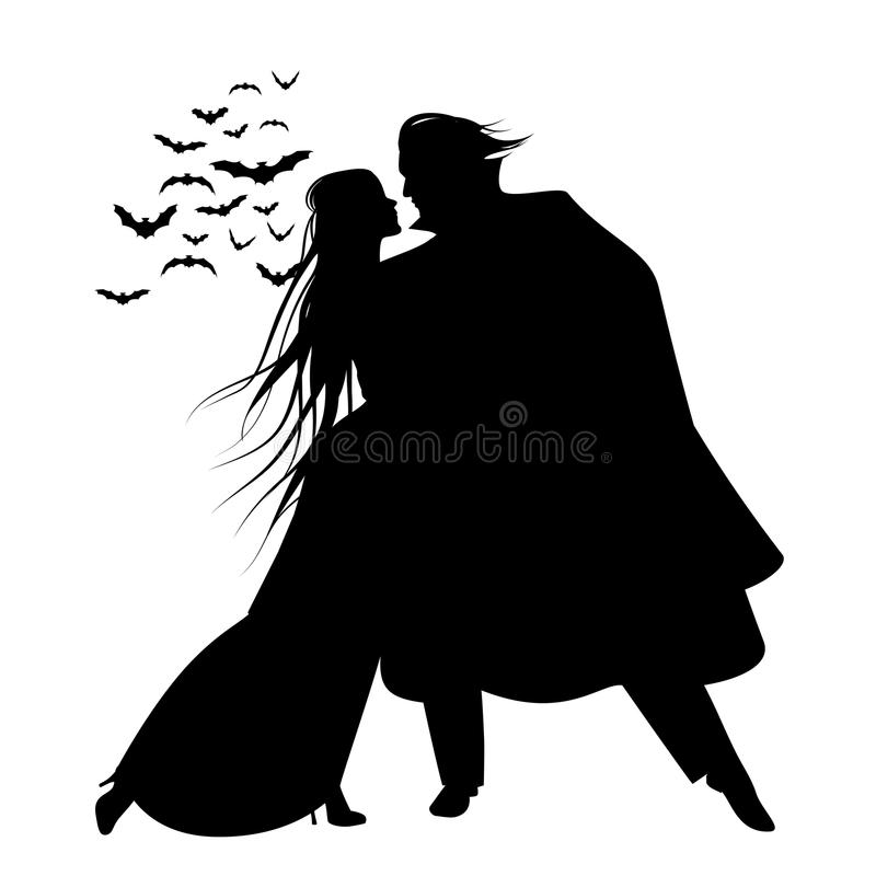 Silhouette of romantic and victorian couple dancing. Cloud of bats on the background. vector illustration