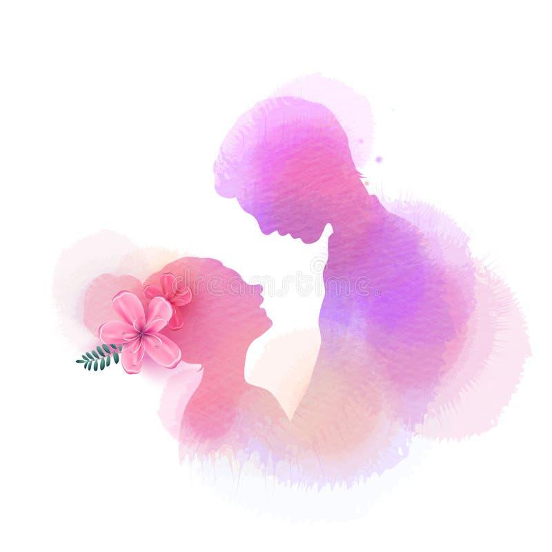 Silhouette romantique d'amants de Valentine sur le fond d'aquarelle Amour au premier concept de signe Couples d'engagement ` Heur illustration stock