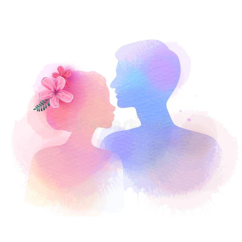 Silhouette romantique d'amants de Valentine sur le fond d'aquarelle Amour au premier concept de signe Couples d'engagement ` Heur illustration de vecteur