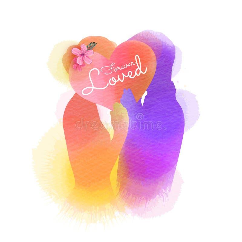 Silhouette romantique d'amants de Valentine sur le fond d'aquarelle Amour au premier concept de signe Couples d'engagement ` Heur illustration libre de droits