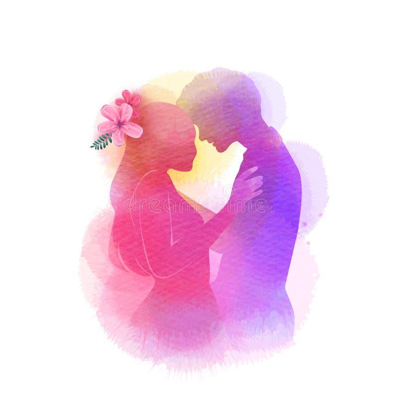 Silhouette romantique d'amants de Valentine sur le fond d'aquarelle Amour au premier concept de signe Couples d'engagement ` Heur image libre de droits