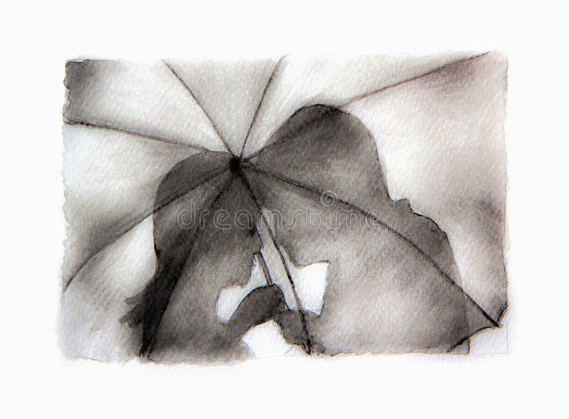 Silhouette romantique de couples Amants femme et homme embrassant sous le parapluie illustration stock