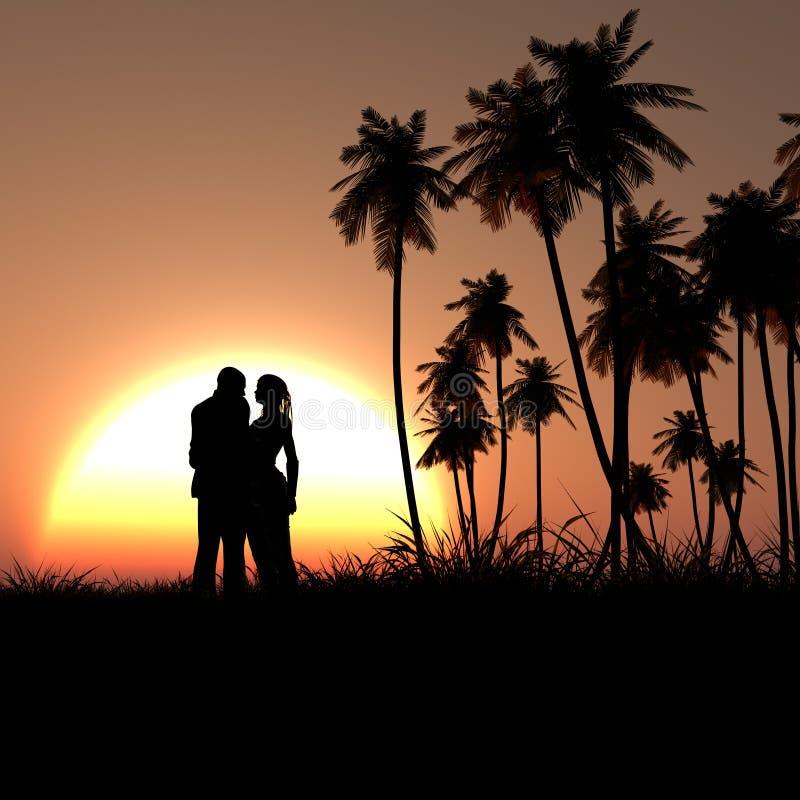 Silhouette romantique de couples dans le coucher du soleil tropical illustration libre de droits