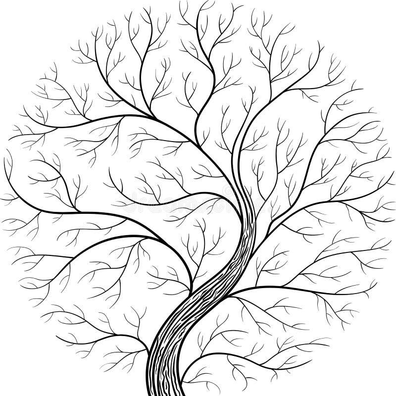 Silhouette ronde, arbre de yggdrasil Illustration noire et blanche de vecteur illustration libre de droits
