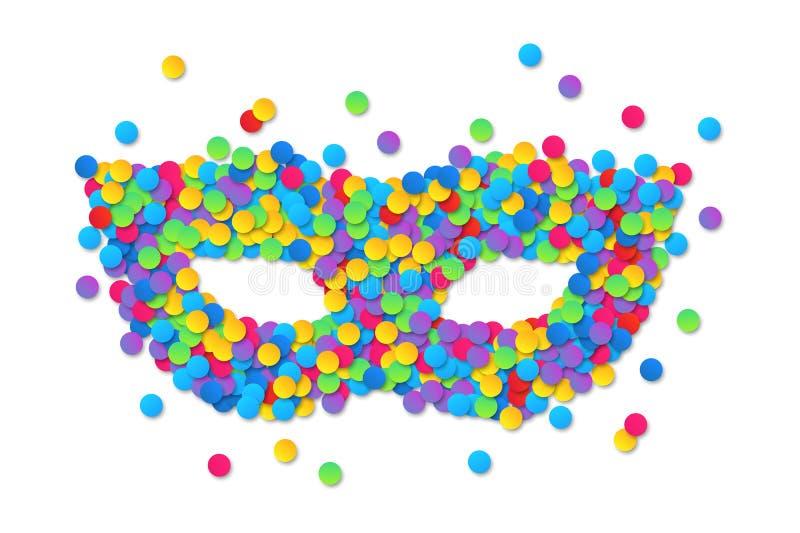 Silhouette ronde colorée de masque de carnaval de confettis d'isolement sur le fond blanc illustration libre de droits