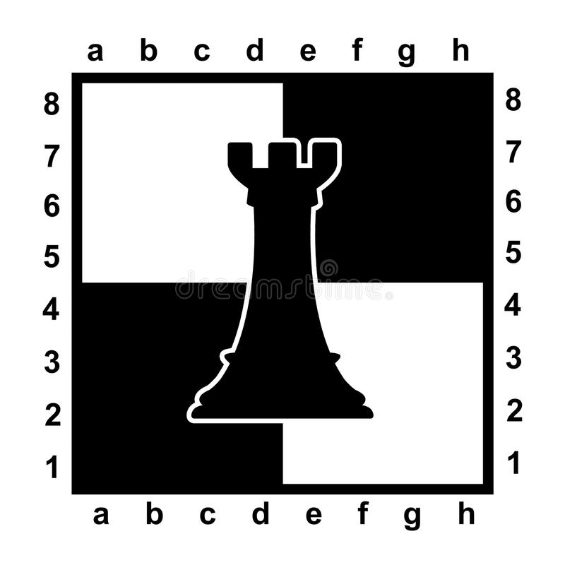 Silhouette of rook on chessboard royalty free illustration