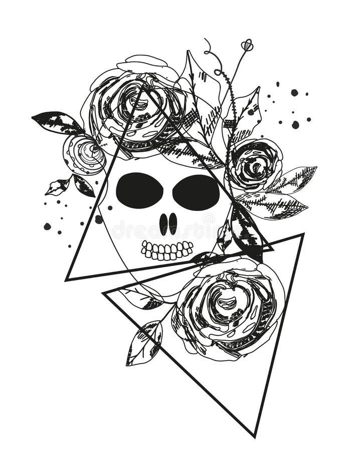 Silhouette rose de résumé crâne La triangle géométrique a monté Fleurs de noir d'abrégé sur heure d'été Thème de nature Tatouage  illustration libre de droits
