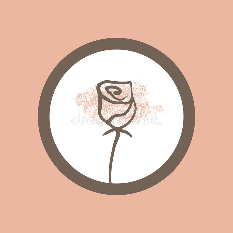 Silhouette of a rose painted by hand with thin lines. Round frame. royalty free illustration