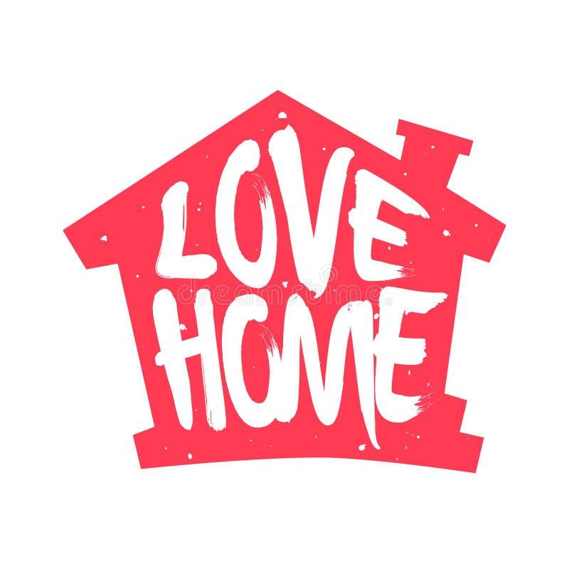 Silhouette rouge de la maison avec la maison d'amour des textes de lettrage Label de couleur de vecteur illustration stock