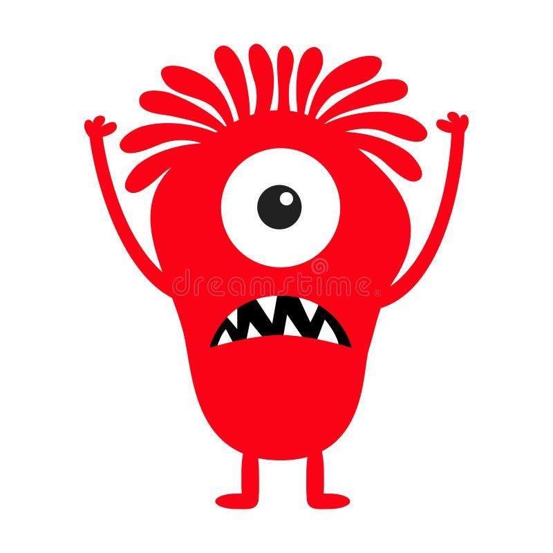 Silhouette rouge de monstre Caractère drôle effrayant de kawaii mignon de bande dessinée Collection de b?b? Un oeil, dent de croc illustration libre de droits