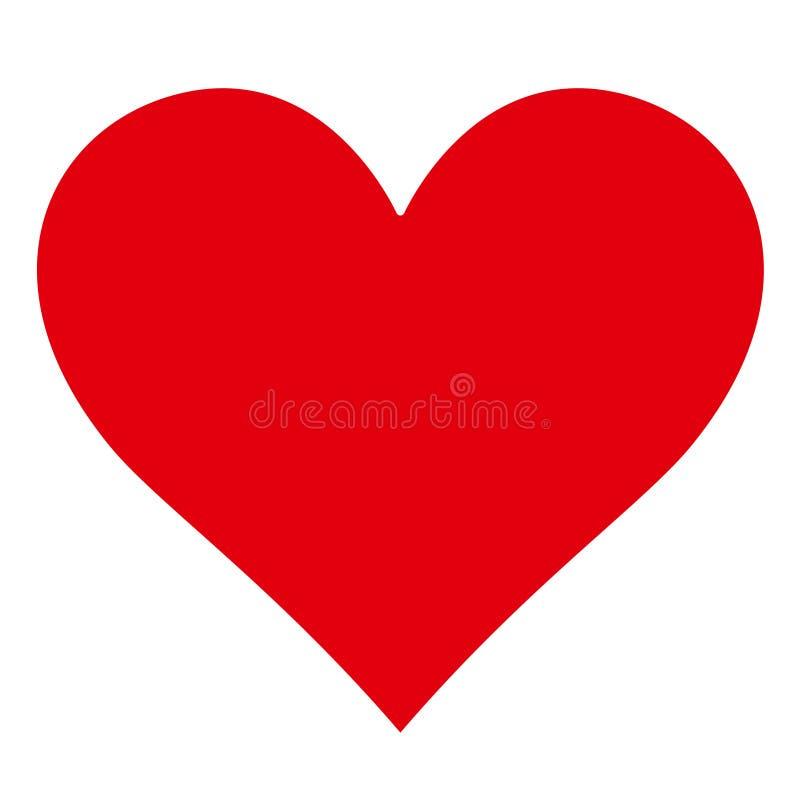 Silhouette rouge simple classique de coeur - forme - icône illustration libre de droits