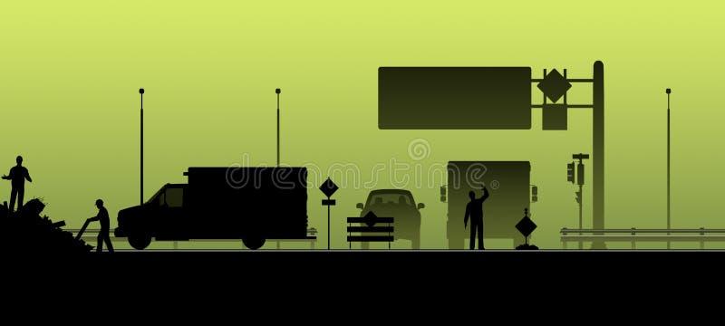 Silhouette Route fermée, courses sur route illustration stock