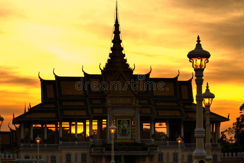 Download Silhouette Of Royal Palace Pnom Penh, Cambodia. Stock Image - Image: 7020225
