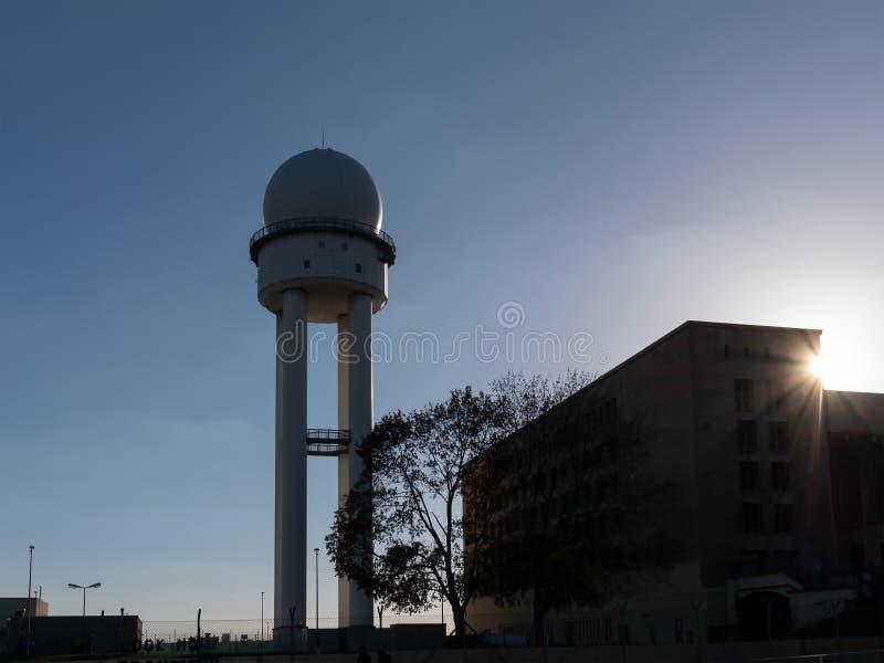 Silhouette of RRP 117 Radar Tower In Public Park Tempelhofer Feld, Former Tempelhof Airport In Berlin royalty free stock images