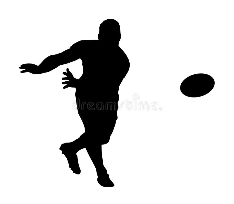 Silhouette - Rugby Fast Backline Pass stock images