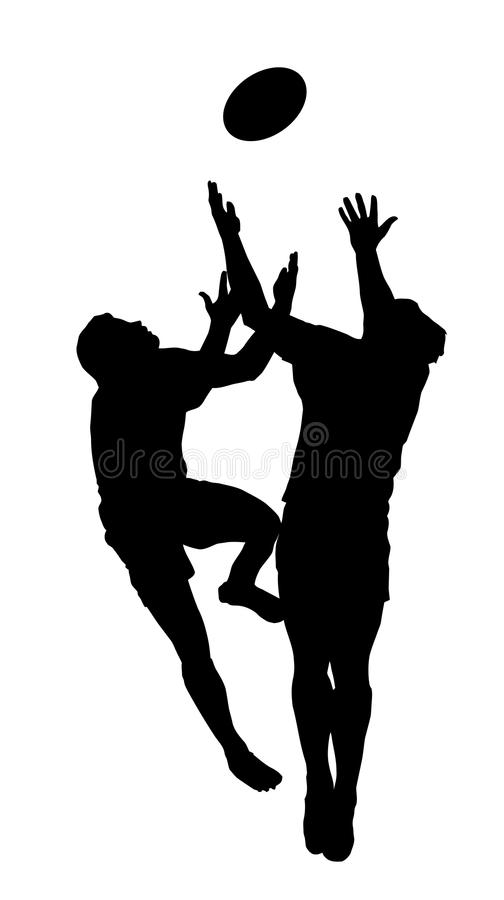 Silhouette - Rugby Jumping to Catch High Ball. Sport Silhouette - Rugby Football Players Jumping to Catch High Ball stock illustration