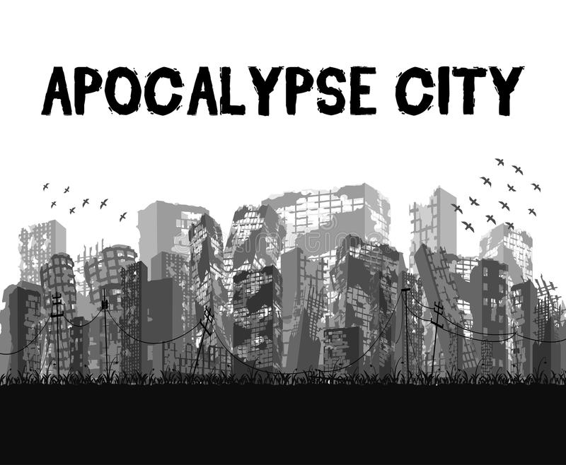 Silhouette ruined apocalypse city building vector eps10 royalty free illustration