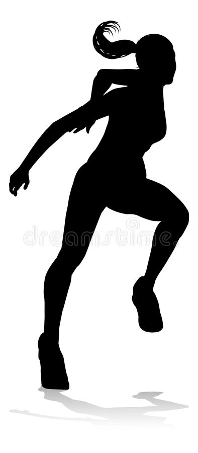 Runner Racing Track and Field Silhouette vector illustration