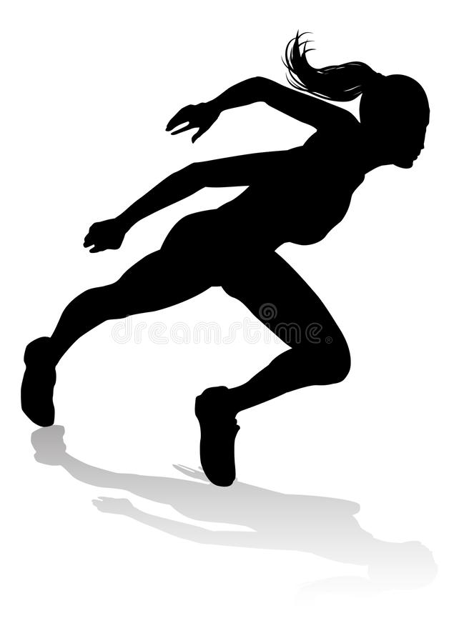 Runner Racing Track and Field Silhouette royalty free illustration