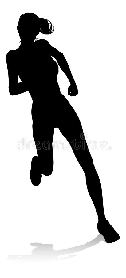 Runner Racing Track and Field Silhouette stock illustration