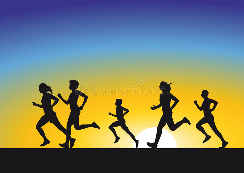 Silhouette of runners at sunrise stock illustration
