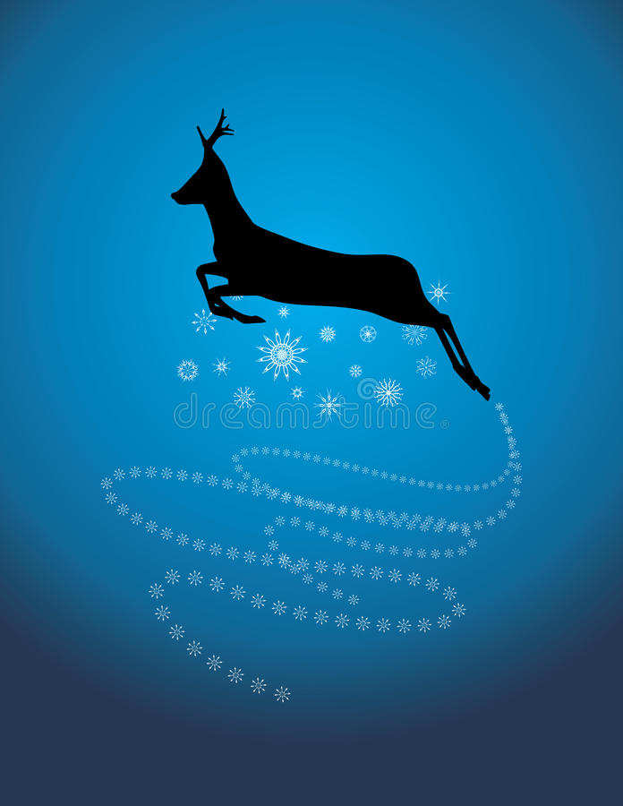 Silhouette of a running Christmas deer royalty free illustration