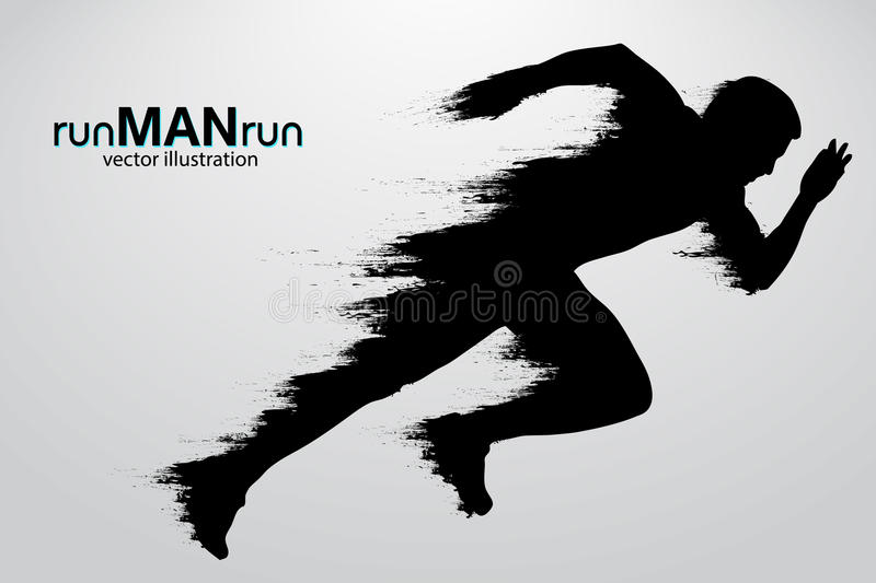 Silhouette of a running man. illustration. Silhouette of a running man. Text and background on a separate layer, color can be changed in one click. Vector stock illustration