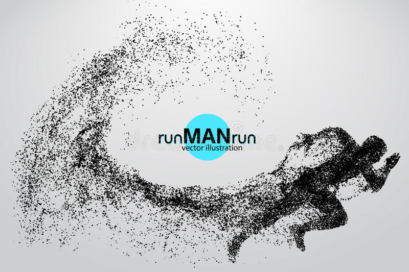 Silhouette of a running man from particles. Text and background on a separate layer, color can be changed in one click stock illustration