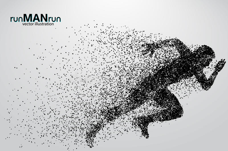 Silhouette of a running man from particles. Text and background on a separate layer, color can be changed in one click royalty free illustration