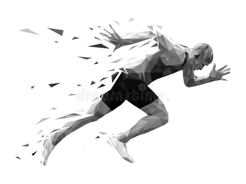 Silhouette running man sprinter vector illustration