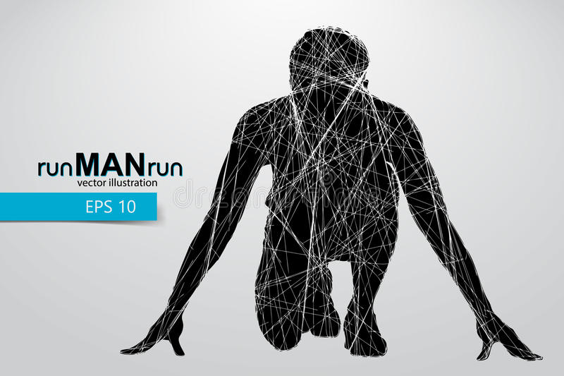 Silhouette of a running man. Text and background on a separate layer, color can be changed in one click royalty free illustration