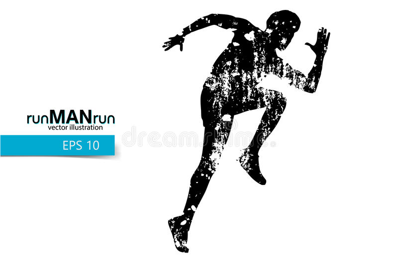 Silhouette of a running man. Text and background on a separate layer, color can be changed in one click vector illustration