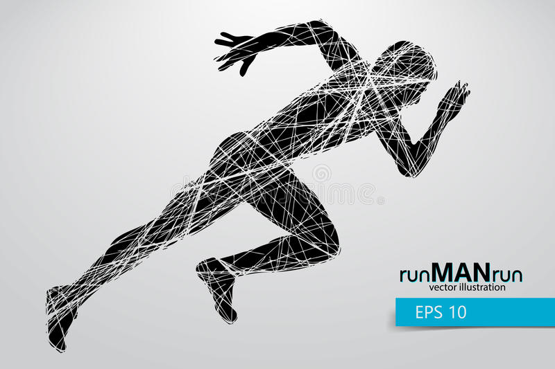 Silhouette of a running man. Text and background on a separate layer, color can be changed in one click stock illustration
