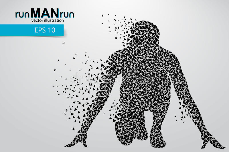 Silhouette of a running man from triangle. Text and background on a separate layer, color can be changed in one click vector illustration